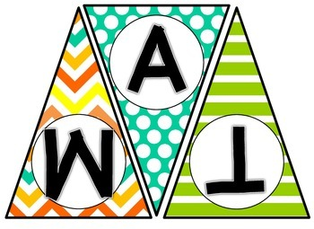 Subject Area Pennant Banners - Yellow, Orange, Turquoise, and Lime Theme