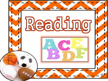 Sports Theme - Subject Area Posters - Reading, Writing, Math, and Science