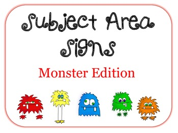 Subject Area Signs- Monsters