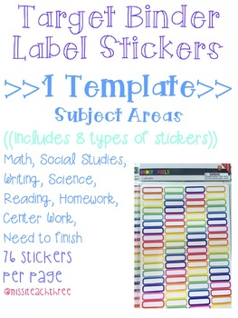 Subject Area Stickers (Target Binder Label Template)