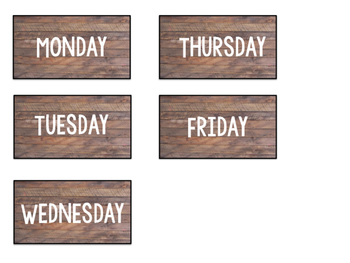 Subject Areas and Days of Week Tags: Shiplap Design