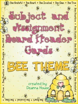 Subject / Assignment Header Cards ~ Bee Theme