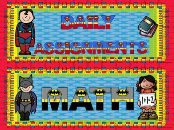 Subject / Assignment Header Cards ~ Superhero Theme With Subject Clipart
