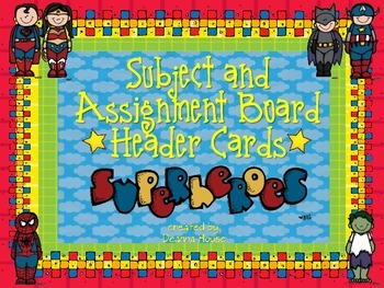 Subject / Assignment Header Cards ~ Superhero Theme Only