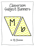 Classroom Subject Banners Yellow Chevron