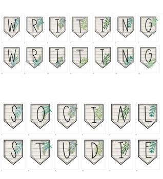 Subject Banners (Natural Greenery/Shiplap)