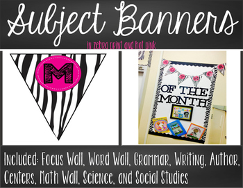 Subject Banners - Zebra Print with Hot Pink