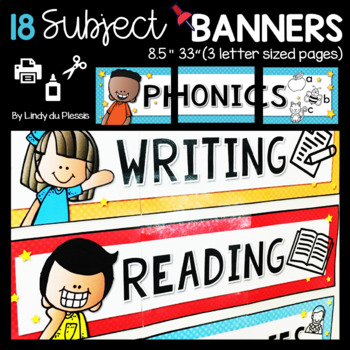 Subject Banners for Bulletin Boards Classroom Decor