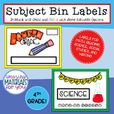Subject Bin Labels for 4th Grade