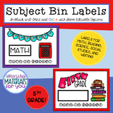 Subject Bin Labels for 5th Grade