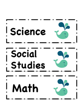 Subject Bucket Labels - Whale Theme