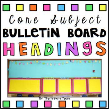 Subject Bulletin Board Headings