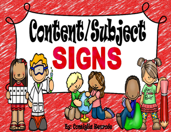 Subject/Content Signs for Classroom and Bulletin Boards