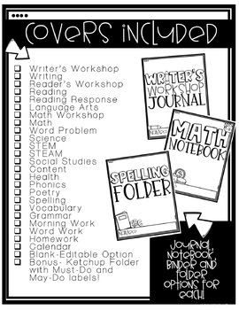 Subject Covers for Folders, Journals, Notebooks and Binders