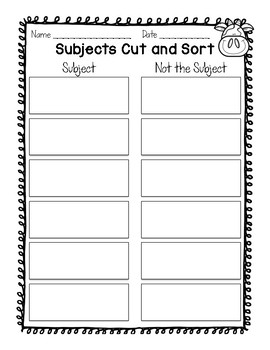 Subject Cut and Sort