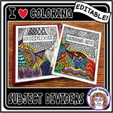 Subject Dividers Your Students Can Color! Binder Covers -