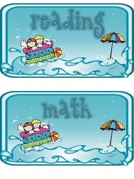 Multiple Subject Header Cards Large Wave/Splash/Beach Theme