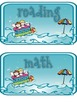 Multiple Subject Header Cards Large Wave/Splash/Beach Theme