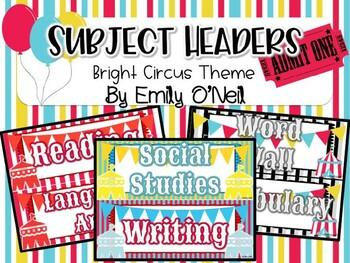 Subject Headers (Bright Circus Theme)