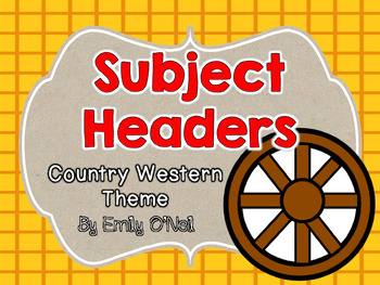 Subject Headers (Country Western Theme)