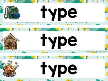 Camping Theme Subject Headers Editable