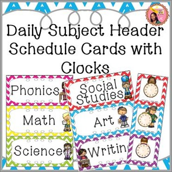 Subject Headers - Schedule Cards with Center Headers - Chevron