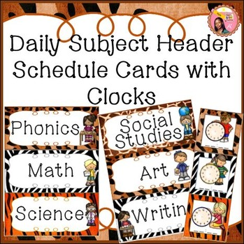 Subject Headers - Schedule Cards with Center Headers - Jungle - Safari theme