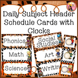 Subject Headers - Schedule Cards with Center Headers - Jungle theme