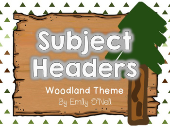 Subject Headers (Woodland Theme)