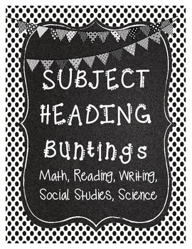 Subject Heading Buntings- Black & White/Chalkboard