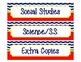 Subject Label Inserts for Sterlite Drawers - Chevron/Nautical Style