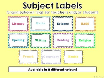Subject Labels - 11 Different Colours