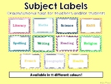 Subject Labels - 11 Different Colours