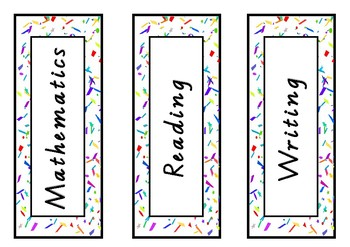 Subject Labels Confetti Theme FREE PRINTABLE