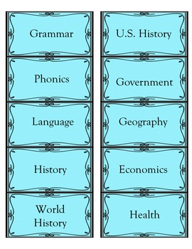 Subject Labels K-12 (Blue w/Bow) created by The Uncluttered Teacher