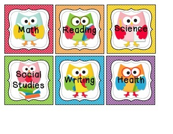 Subject Labels - Owl, Ocean, Polka Dots