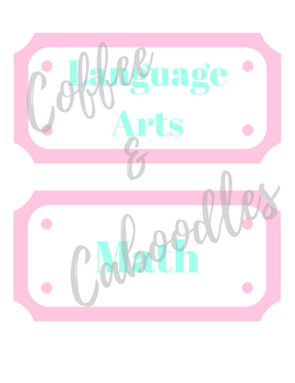 Subject Labels Pink and Mint