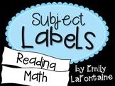 Blue Subject Labels