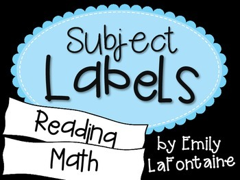 Subject Labels for classroom organization of tubs or bulle