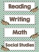 Subject Labels - Sloth Themed - Student Learning Goals/Objectives