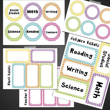 Chevron Subject Posters & labels Math, Reading, Writing, Social Studies, Science