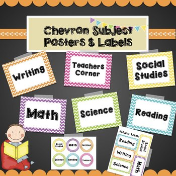 Chevron Subject Posters & labels Math, Reading, Writing, S