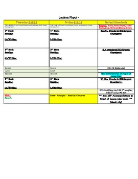 Subject Lesson Plan Template