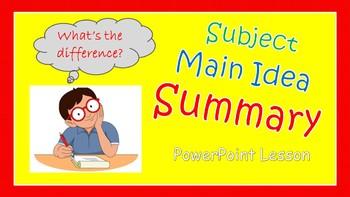 Subject, Main Idea, and Summary