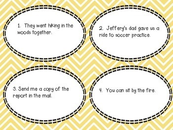 Subject Object Pronouns Task Cards