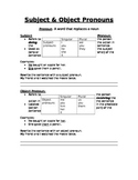 Subject & Object Pronouns notes