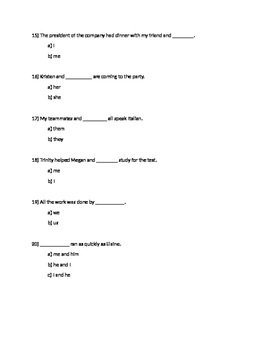 Subject/Object pronoun quiz