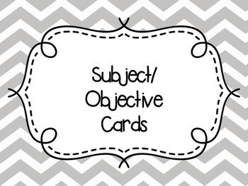 Subject / Objective Cards Chevron Yellow / Gray