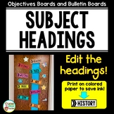 Subject Objective and Homework Headers Editable