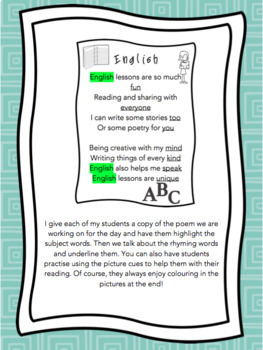 Subject Poems for Shared Reading